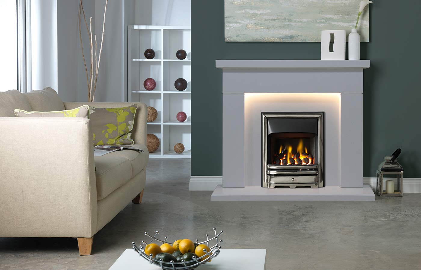 "Durrington 48"" Fireplace Suite in Arctic White Micro Marble"