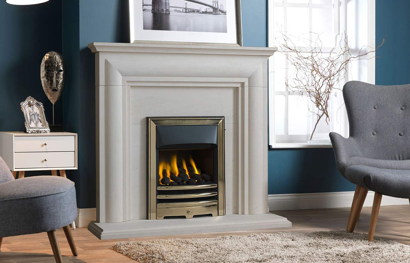 "ELLERBY 48"" PORTUGUESE LIMESTONE SURROUND COMPLETE WITH THREE-PIECE PORTUGUESE LIMESTONE BACK PANEL AND 48"" HEARTH."