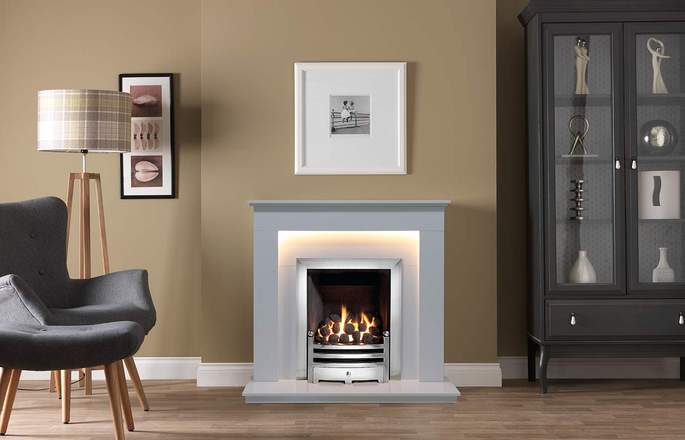 Hutton Fireplace Suite in Arctic White Micro Marble