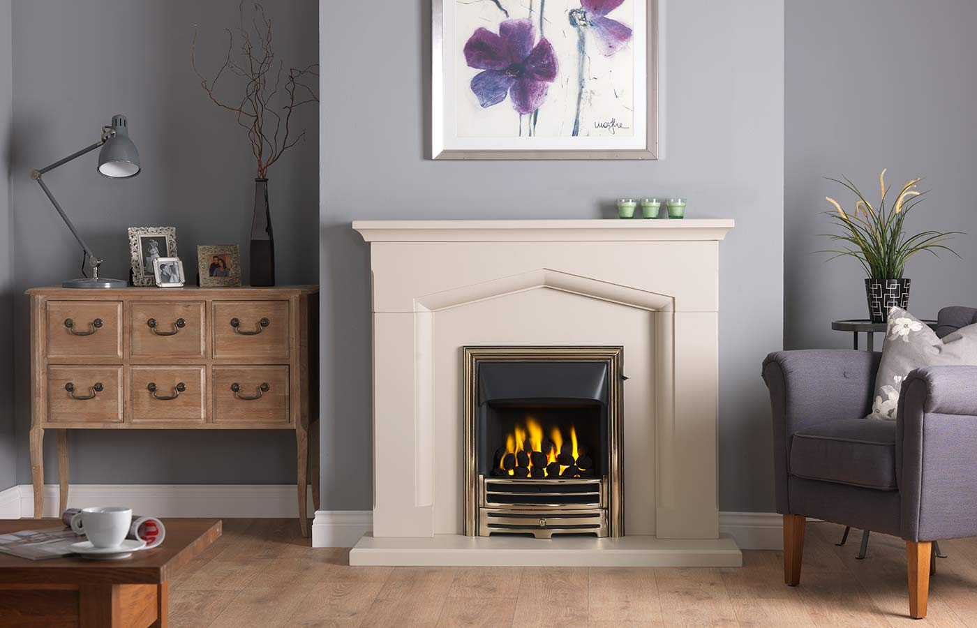 """Kendal 48"""" Fireplace Suite in Cotswold Jurastone with Providence (Antique Brass) and Open-Fronted Gas Convector Fire (Slide Control)"""
