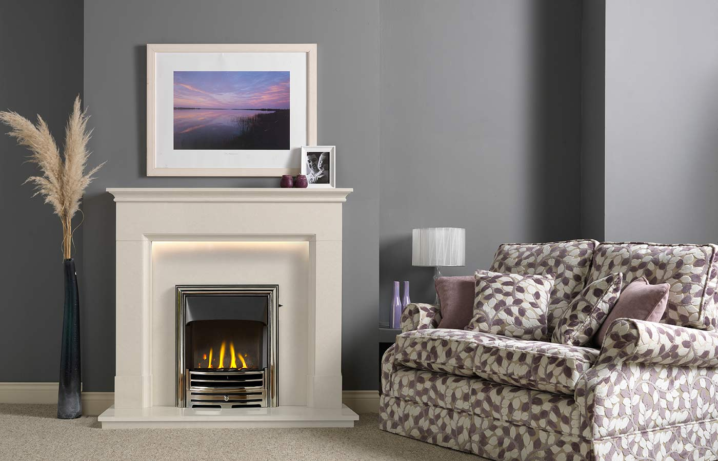 Langdon Fireplace Suite in Arctic White Micro Marble
