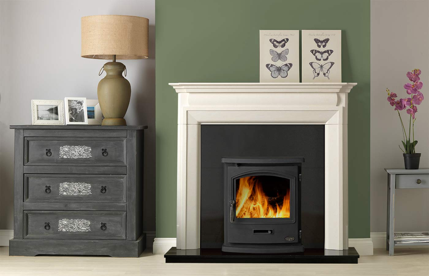 "Swainby 48"" Fireplace Suite in Portuguese Limestone with Tiger Inset Stove"