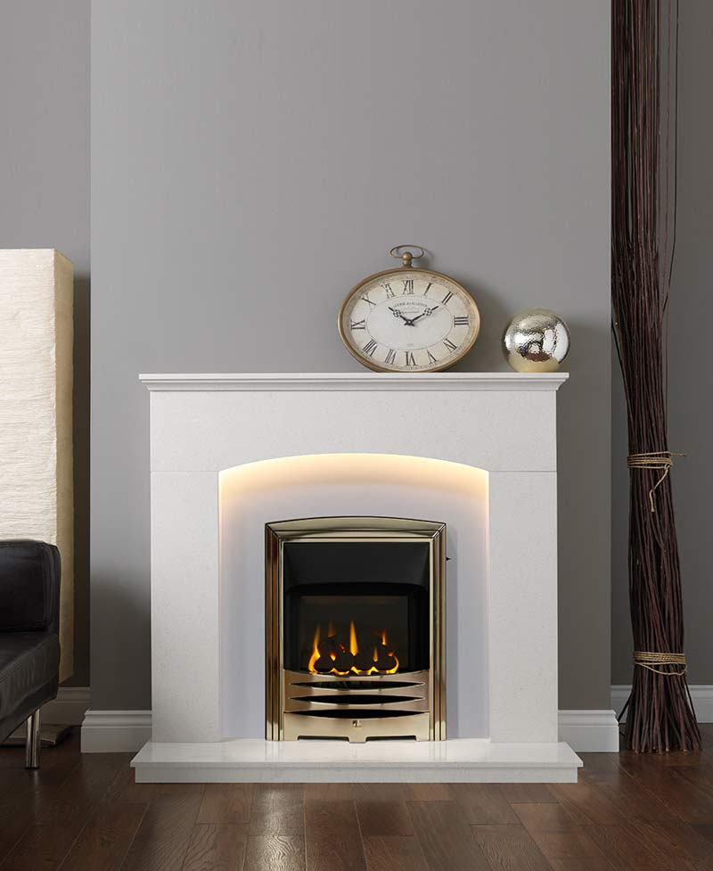 Cartmel Fireplace Suite in Arctic White Marble
