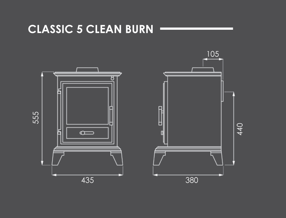 Classic 5 Clean Burn Stove Dimensions