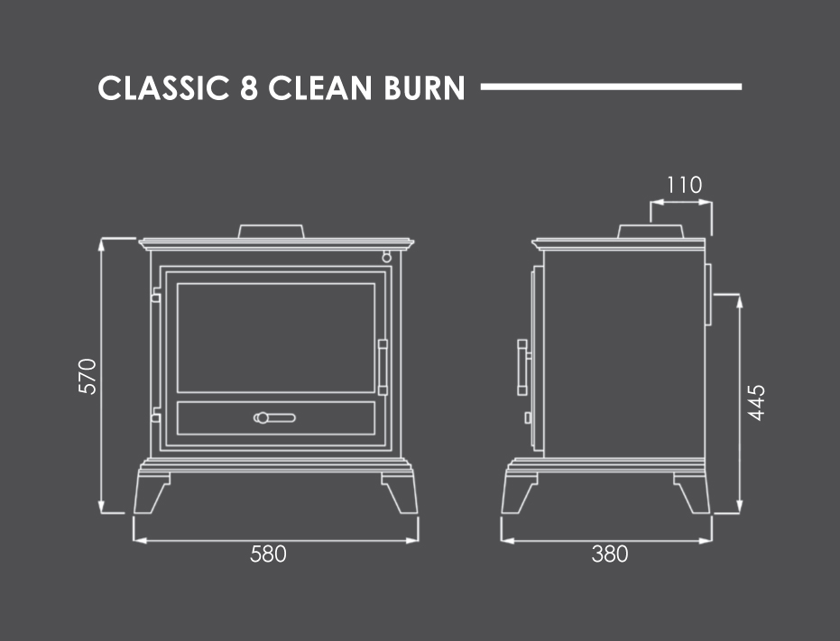 Classic 8 Clean Burn Stove Dimensions