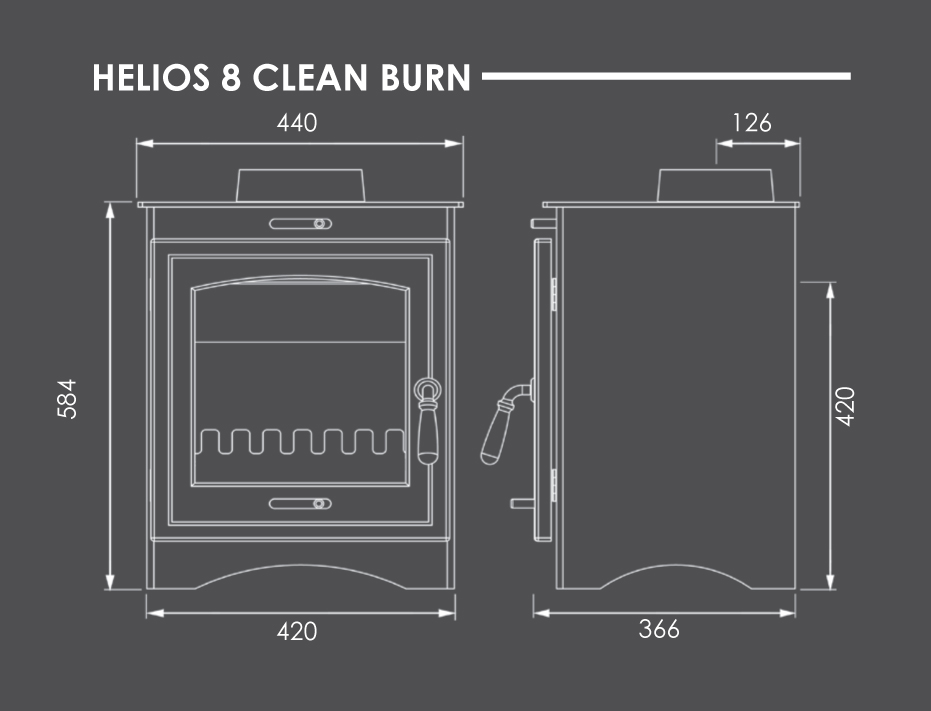 Helios 8 Clean Burn Dimensions