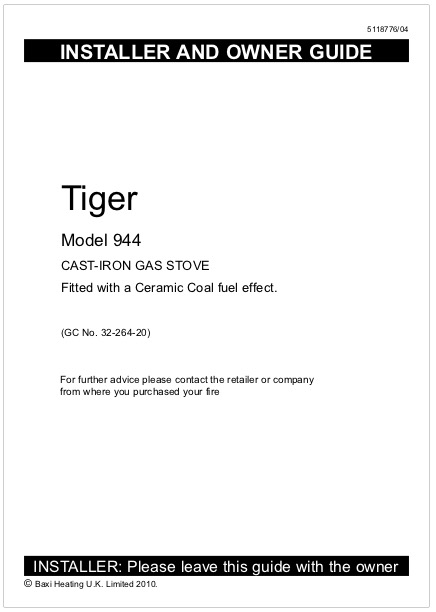 Tiger Gas Installation And Operating Instructions